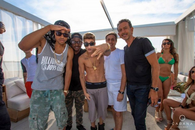 Justin Bieber and company with Charles Khabouth and Danny Soberano of INK Entertainment at Cabana Pool Bar Sunday, July 21