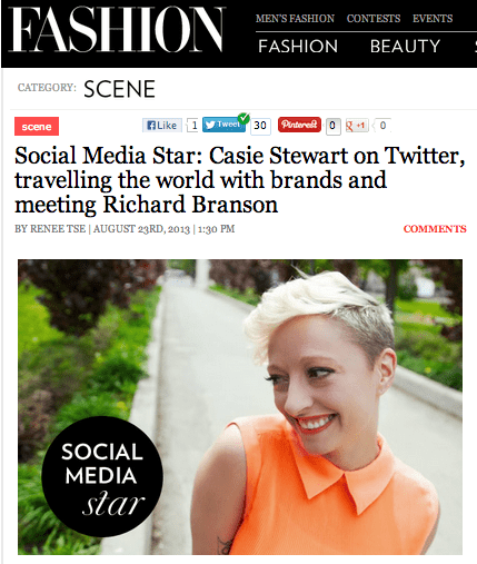 FASHION Magazine feature: Social Media Star