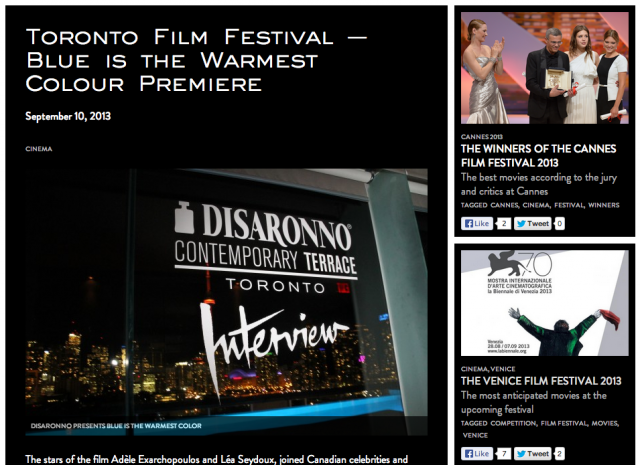 Spotted on the Disaronno Global Blog! #TIFF13