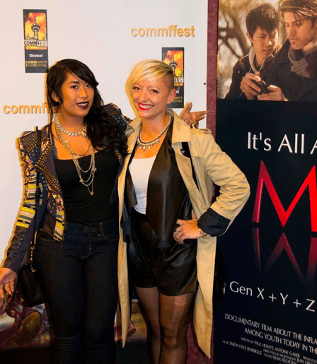 Red carpet at the screening. Christianne Cruz and Casie Stewart ready for the screening of It's All About Me - Feature Documentary