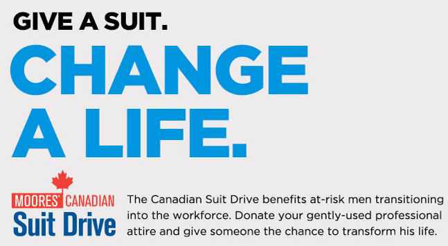 Give a Suit. Change a Life. Moores Canadian #SuitDrive