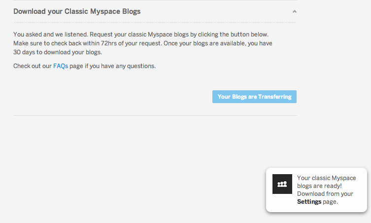 Tech | Download Your Classic MySpace Blog