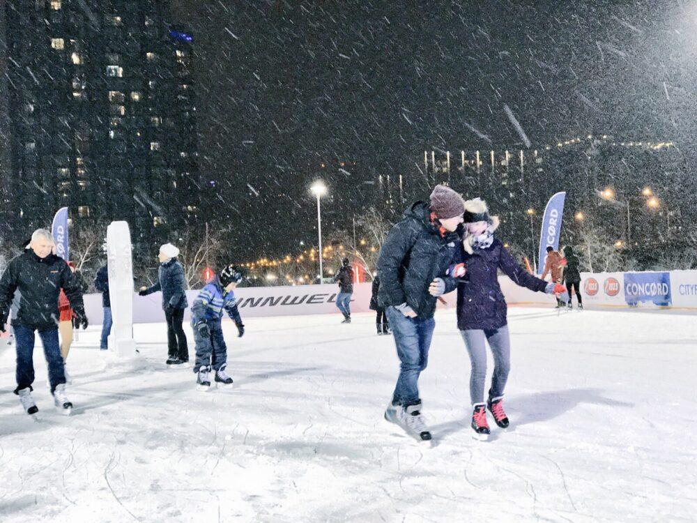 cityplace rink, casiestewart, cityplace, toronto, skating, ice skates