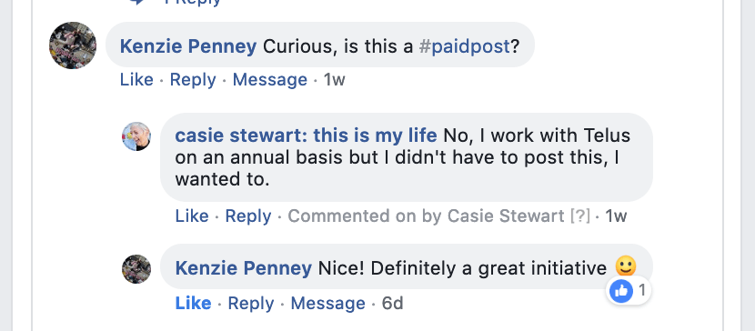 Facebook comment about a sponsored post on Casie Stewart's blog.